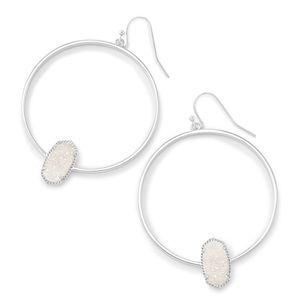 New Kendra Scott Elora Silver Hoop earrings drusy